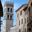 Stock Photo: Tower of Temple of Minervin Assisi, Italy.