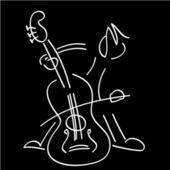 Bas viol müzik — Stok Vektör