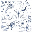 Blue ink doodles - Stock Vector