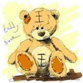 Teddy bear doodle — Stock Vector