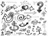 Hand drawn set of arrows — Vecteur
