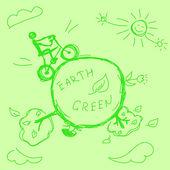 Hand drawn green earth — Stock Vector
