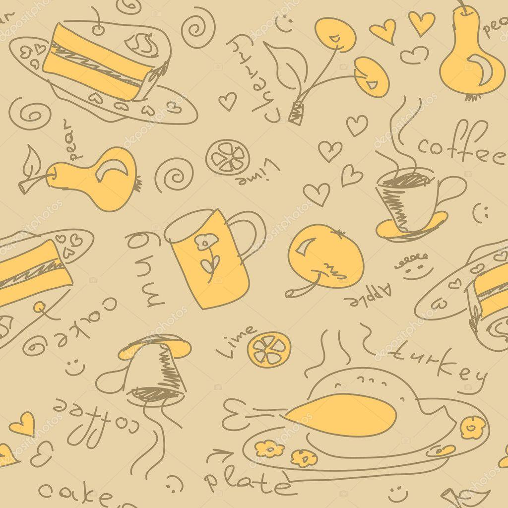 Background pattern with food — Stock Vector © OlgaTropinina ...