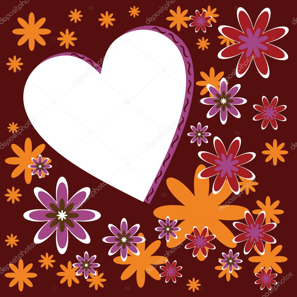 Card with heart and flowers — Imagens vectoriais em stock #10881717