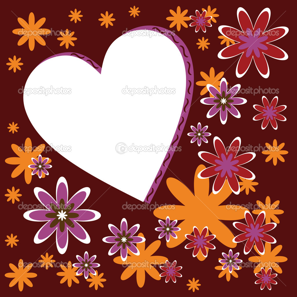 Card with heart and flowers — Stockvectorbeeld #10881717