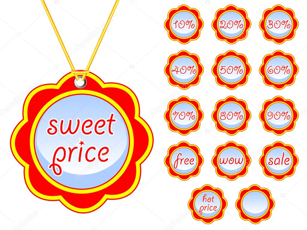 Flower tags hot price — Stock Vector #10881950