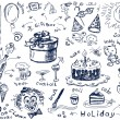 Holiday doodles vector — Stock Vector
