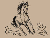 Hand drawn horse vector — Vettoriale Stock