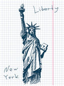 Hand drawn statue of liberty in New York — Stockvector
