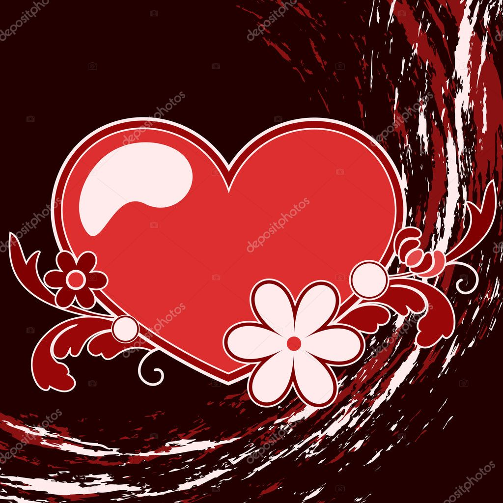 Heart, flower and design element — Imagen vectorial #11243168