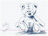Teddy bear doodle Vector — Stock Vector