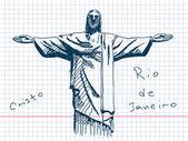 Hand drawn Cristo in Rio De Janeiro — Stock Vector