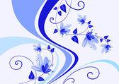 Fond floral bleu — Vecteur