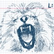 Hand drawn lion Vector — Stock Vector