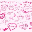 Hand drawn love theme Vector — Stock Vector