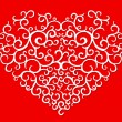 Hand drawn heart pattern on red — Image vectorielle