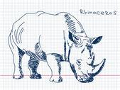 Ręcznie rysowane nosorożec wektor — Wektor stockowy