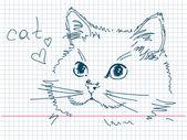 Hand drawn cat — Stock Vector