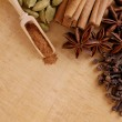 Various spices on the wooden board — Stock Photo