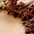 Various spices on the wooden board - Foto Stock