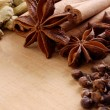 Various spices on the wooden board - Stock fotografie
