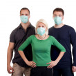 Stock Photo: Young wearing flu masks