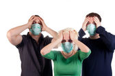 Young wearing flu masks — Stock Photo