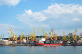 Odessa port - ship, cranes, dock — Stock Photo