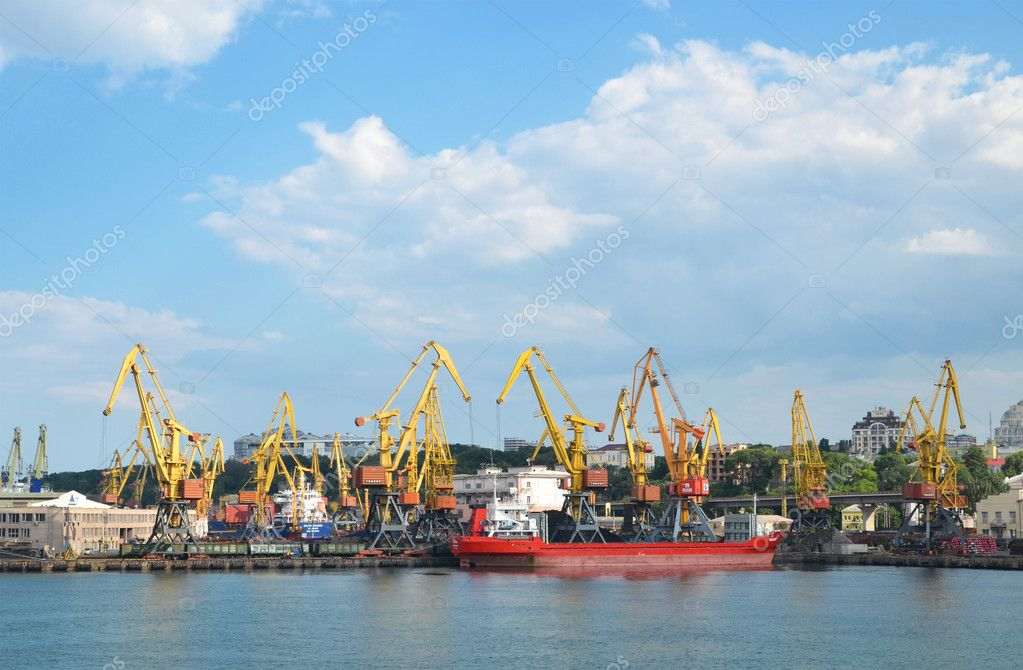 Odessa port - ship, cranes, dock — Stock Photo #11462137