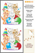 Find the differences visual puzzle - kittens — Stock Vector