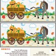 Find the differences visual puzzle - burro pulling cart with pumpkins — 图库矢量图片