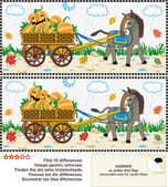 Find the differences visual puzzle - burro pulling cart with pumpkins — Vetor de Stock