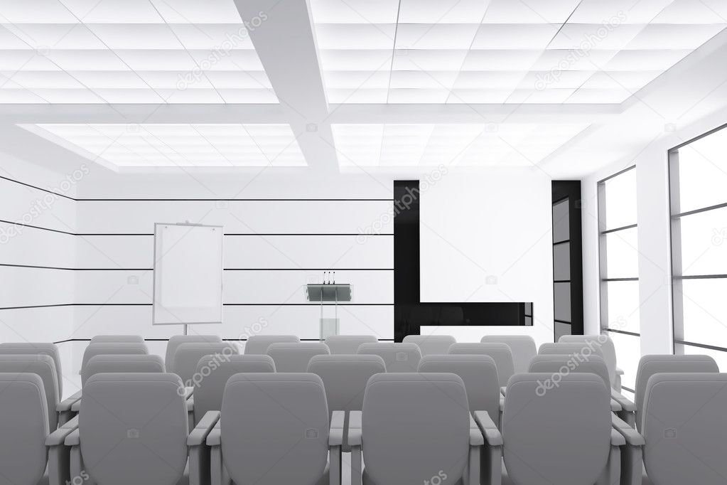Empty modern conference room with microphones and visual board and chairs  Stock Photo #10948862