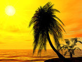 Single palm on the uninhabited island on a brightly sunset — Foto Stock