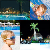 Tourist resort and little tourist swimming in sea water — Stock Photo
