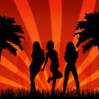 Summer party with beauty silhouette girls — Stock Photo