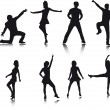 Dancer silhouettes — 图库矢量图片