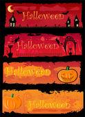 4 halloween banners — Stockvector