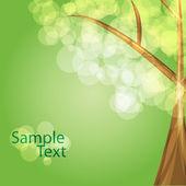 七彩树与绿色背景-矢量 — 图库矢量图片
