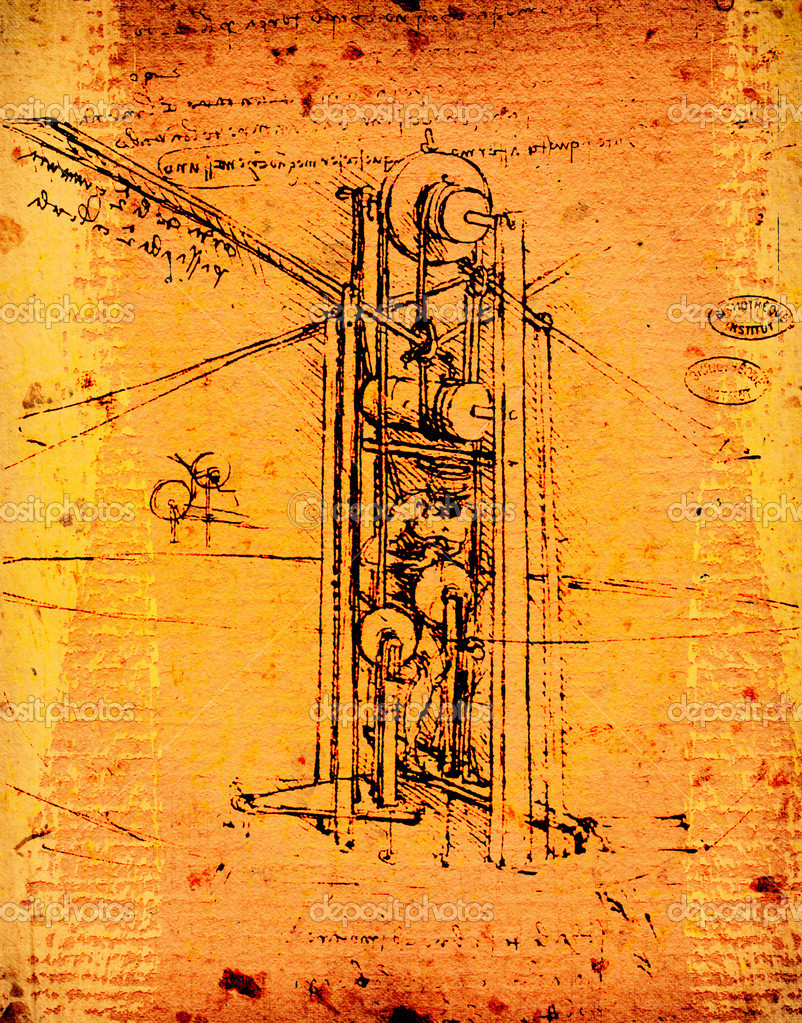 Leonardo&#039;s Da Vinci engineering drawing  Stock Photo #11164209