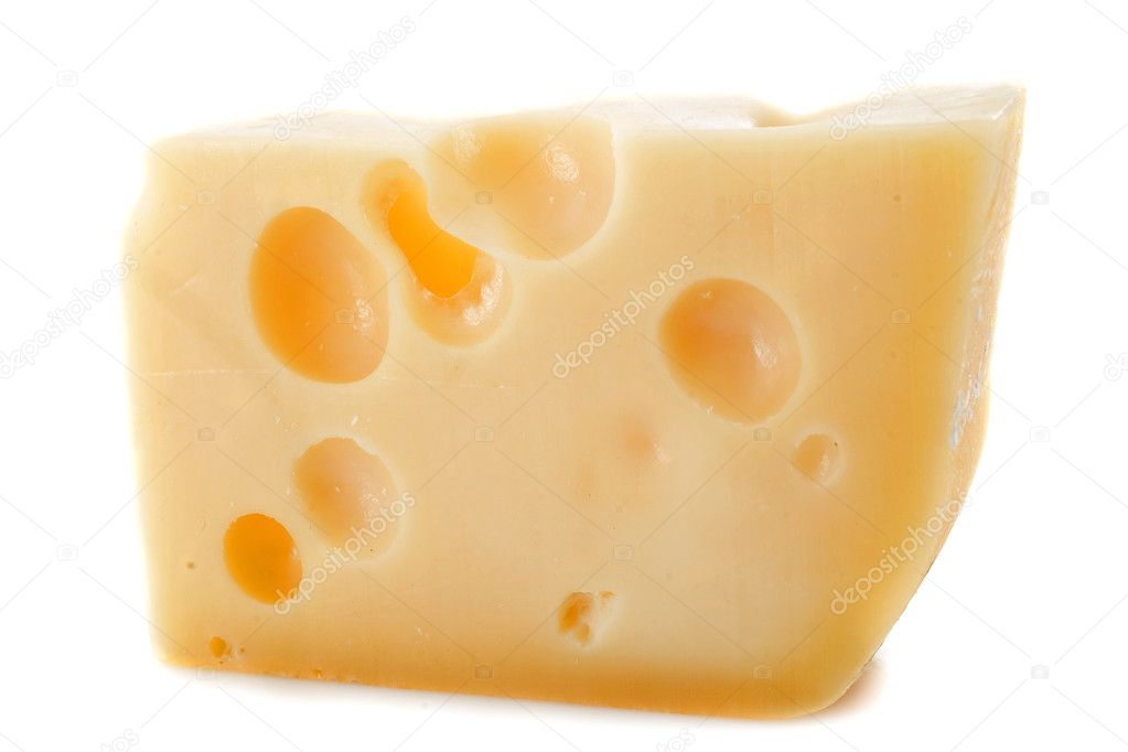 Piece of cheese gruyere in front of white background — Stock Photo #14474819