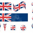 United Kingdom flag and buttons - Stock Vector