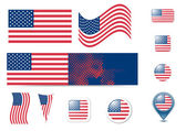 United States of America flag and buttons — Stock Vector