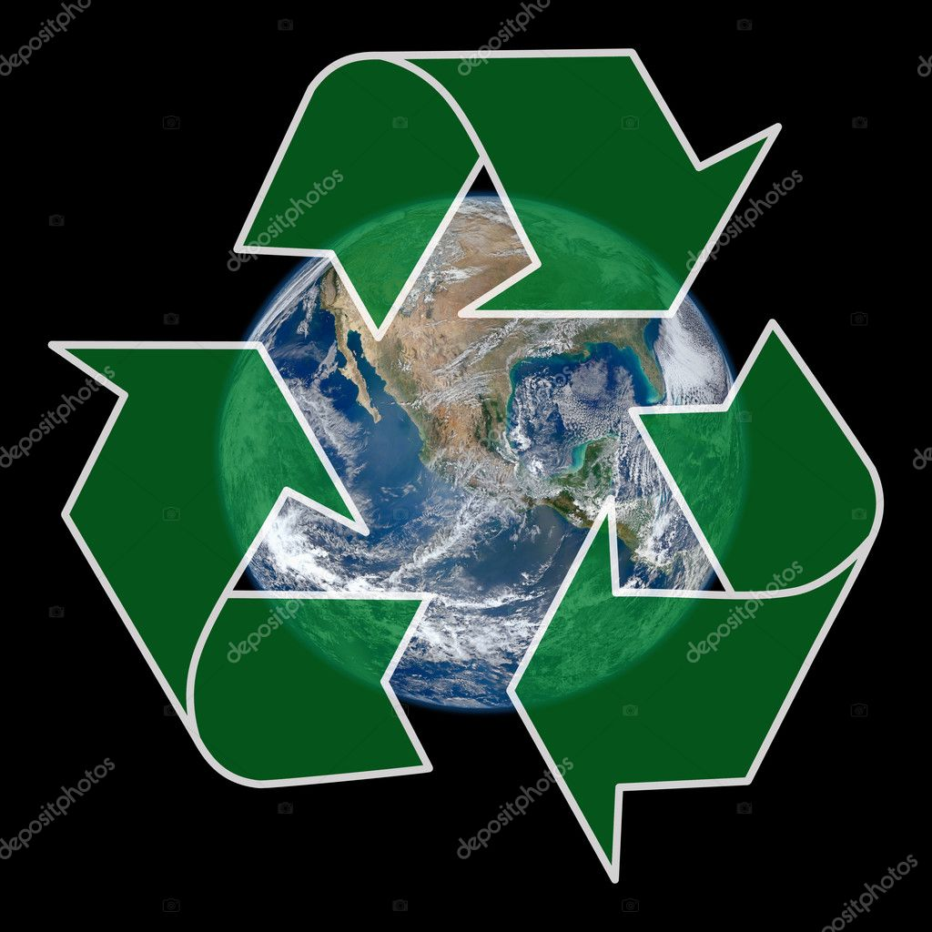 Earth with green recycle sign over black background - Earth photo courtesy of NASA/NOAA/GSFC/Suomi NPP/VIIRS/Norman Kuring — Stock Photo #11106707