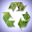 Recycle sign grass vignetted - Stock Photo
