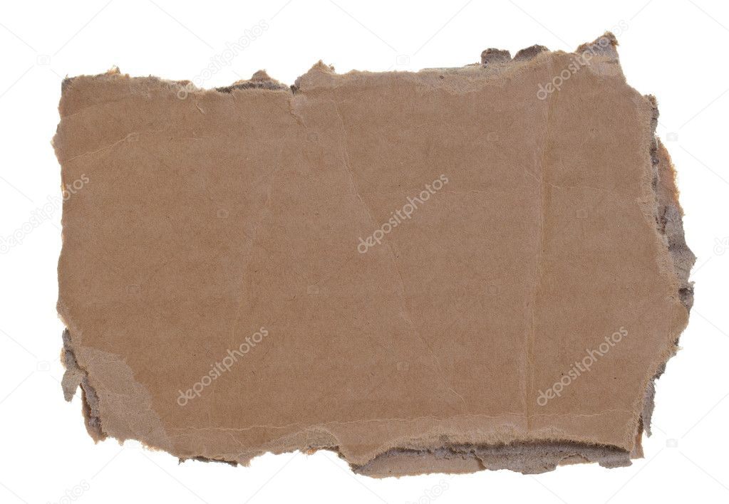 High resolution photograph of torn cardboard piece isolated over white background — Stock Photo #11313486