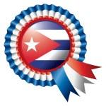 Cuba rosette flag — Stock Vector