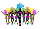Beautiful carnival dancer, amazing costume vector — Stock Vector