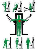 Men exercise apparatus and strengthen the body — Stock Vector