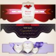 Set of holiday banners with ribbons. Vector background — Stock vektor